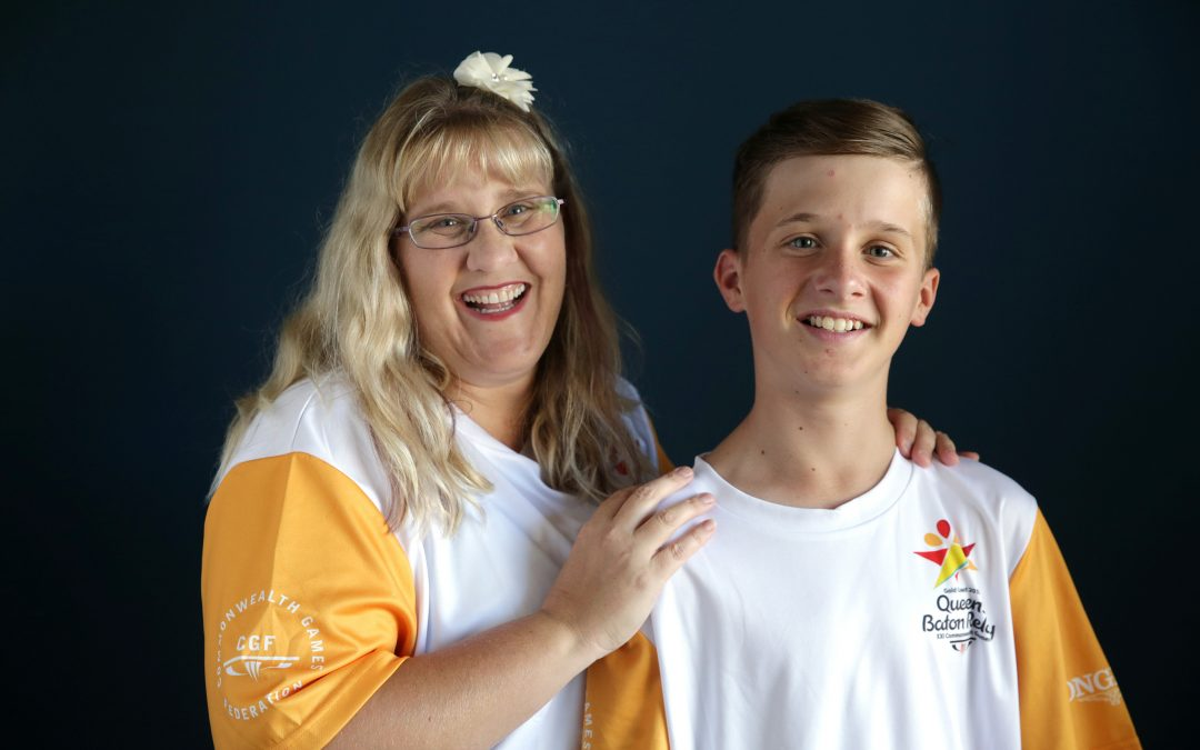 Clayden family:  Dee and Nathan (15) share in the Queen's Baton Relay experience in Wanneroo