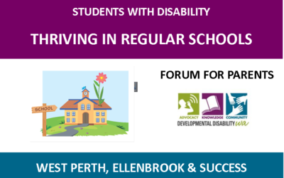 Students with Disability Thriving in Regular Schools: Forum