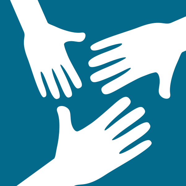 Illustration of three hands next to each other