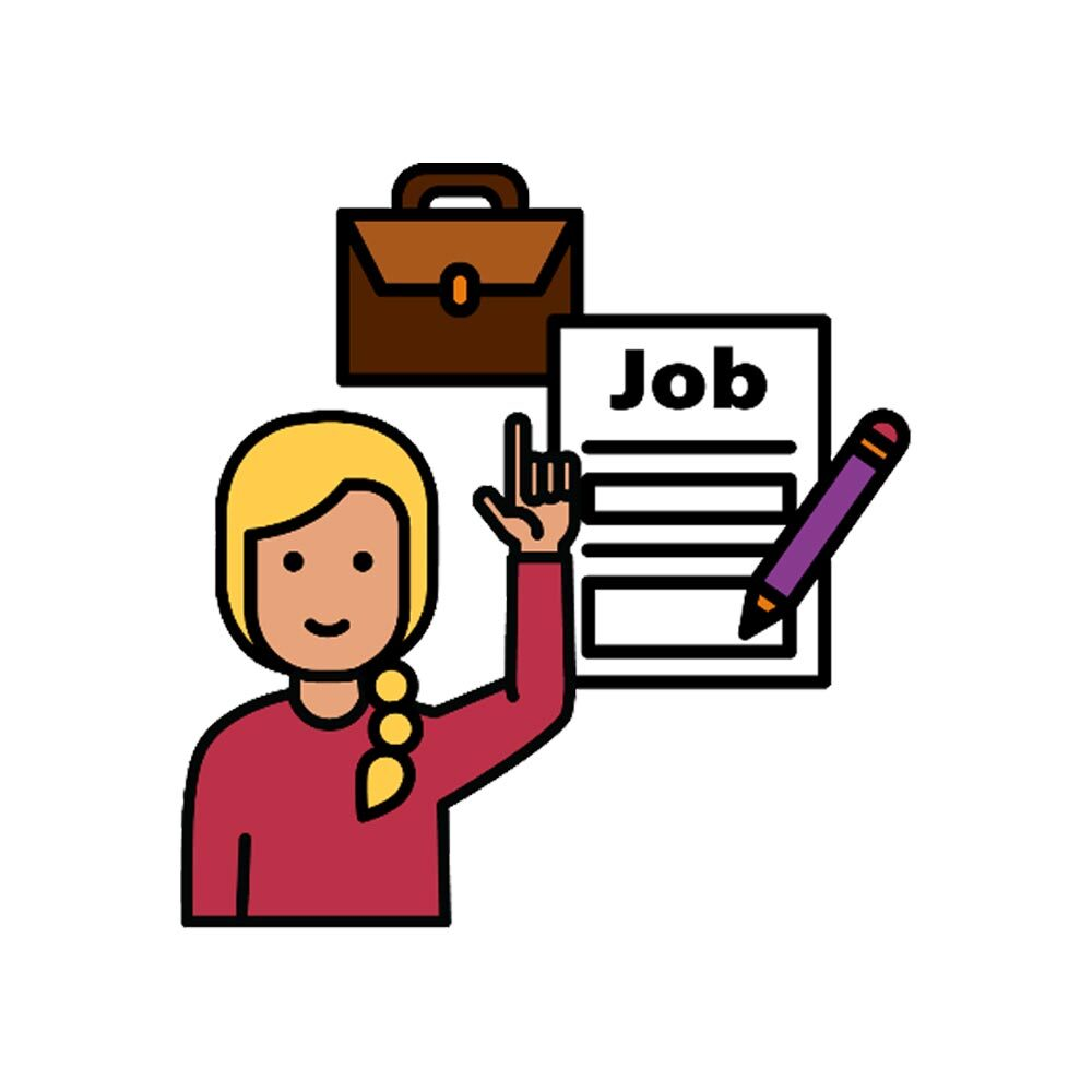 Illustration of a woman applying for a job